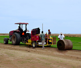 tractor with sod roll